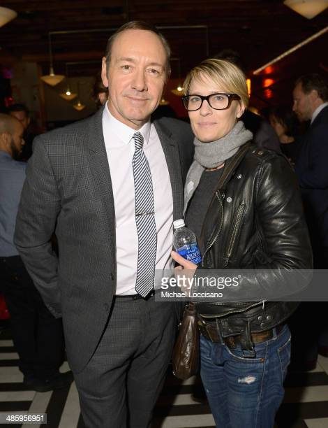 Actors Kevin Spacey and Robin Wright attend the 'Now In The Wings On A World Stage' Premiere after party during the 2014 Tribeca Film Festival at The...