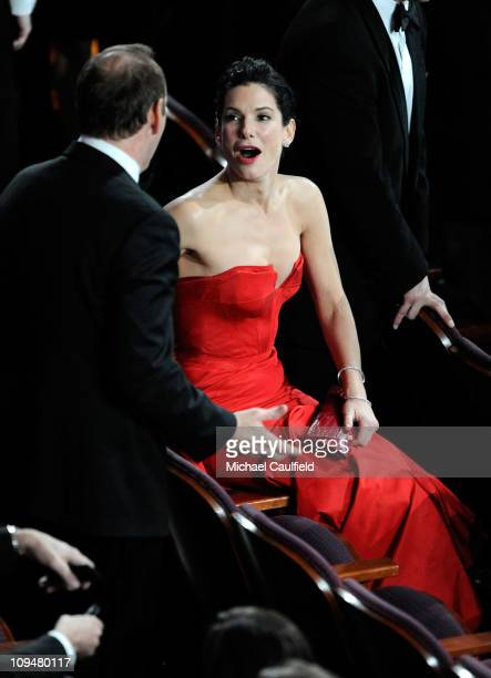 Actors Kevin Spacey and Sandra Bullock in the audience during the 83rd Annual Academy Awards held at the Kodak Theatre on February 27 2011 in...