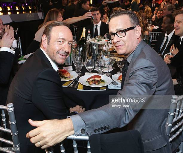 Actors Kevin Spacey and Tom Hanks with Champagne Nicolas Feuillatte attend the 19th Annual Critics' Choice Movie Awards at Barker Hangar on January...