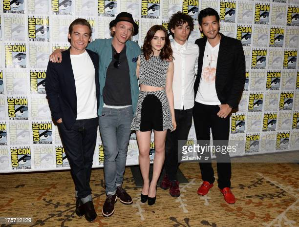 Actors Kevin Zegers and Jamie Campbell Bower actress Lily Collins and actors Robert Sheehan and Godfrey Gao attend The Mortal Instruments City of...
