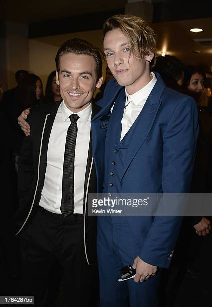Actors Kevin Zegers and Jamie Campbell Bower attend the premiere of Screen Gems Constantin Films' 'The Mortal Instruments City of Bones' at ArcLight...