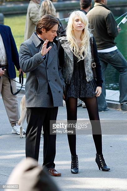 Actors Kevin Zegers and Taylor Momsen film on location for 'Gossip Girl' on the streets of Manhattan on October 5 2009 in New York City