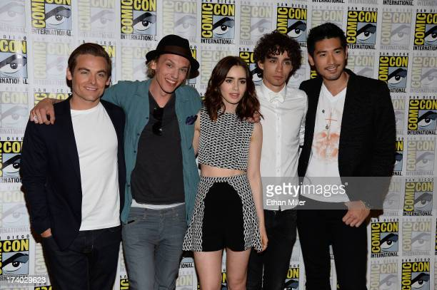 Actors Kevin Zegers Jamie Campbell Bower Lily Collins Robert Sheehan and Godfrey Gao attend 'The Mortal Instruments City of Bones' press line during...