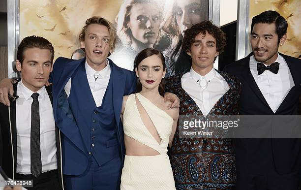 Actors Kevin Zegers Jamie Campbell Bower Lily Collins Robert Sheehan and Godfrey Gao attend the premiere of Screen Gems Constantin Films' The Mortal...