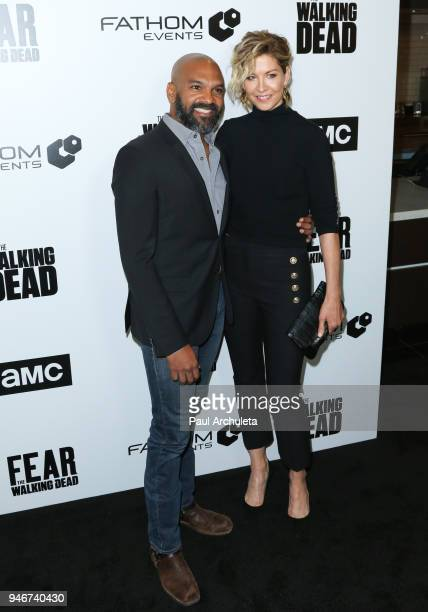 Actors Khary Payton and Jenna Elfman attend Survival Sunday The Walking Dead and Fear The Walking Dead at AMC Century City 15 theater on April 15...