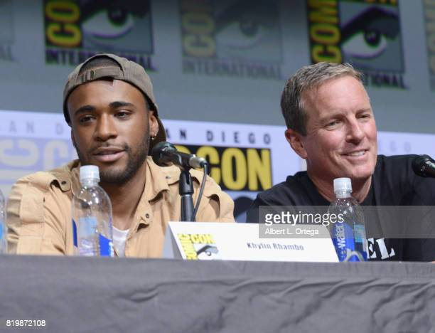 Actors Khylin Rhambo and Linden Ashby speak onstage at the 'Teen Wolf' panel during ComicCon International 2017 at San Diego Convention Center on...