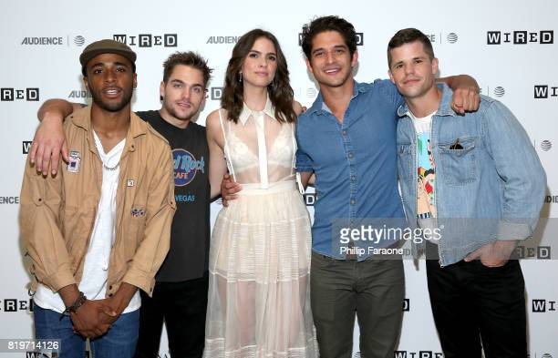 Actors Khylin Rhambo Dylan Sprayberry Shelley Hennig Tyler Posey and Charlie Carver of 'Teen Wolf' at 2017 WIRED Cafe at Comic Con presented by ATT...
