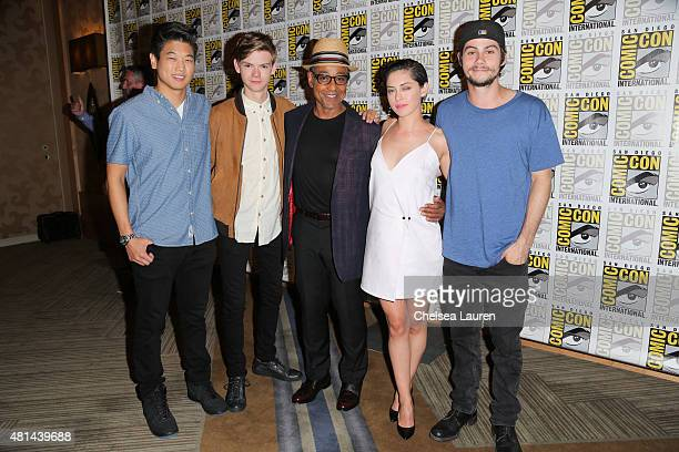 Actors Ki Hong Lee Thomas BrodieSangster Giancarlo Esposito Rosa Salazar and Dylan O'Brien arrive at the 'Maze Runner' press room on July 11 2015 in...