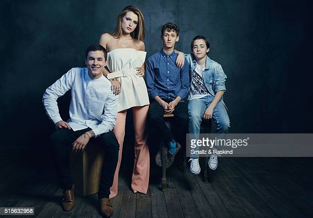 Actors Kian Lawley Bella Thorne Philip Labes and Anton Starkman of 'Shovel Buddies' are photographed in the Getty Images SXSW Portrait Studio powered...