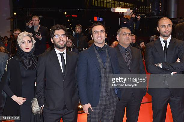 Actors Kiana Tajammol Ehsan Goudarzi Homayoun Ghanizadeh director Mani Haghighi and Amir Jadidi attend the closing ceremony of the 66th Berlinale...
