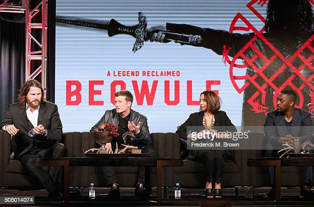 Actors Kieran Bew, Ed Speleers, Joanne Whalley and David Ajala speak onstage during the 'Beowulf' panel discussion at the NBCUniversal portion of the...