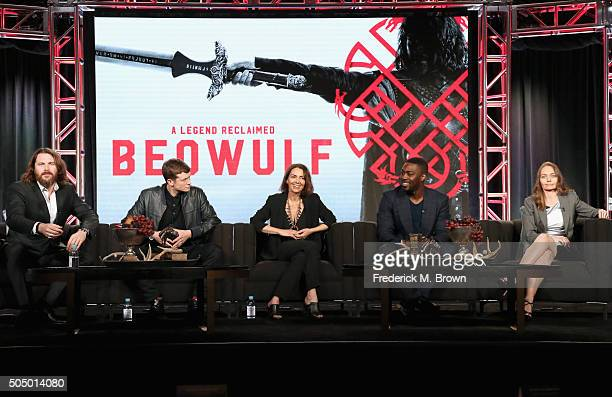 Actors Kieran Bew, Ed Speleers, Joanne Whalley, David Ajala and creator/producer Katie Newman speak onstage during the 'Beowulf' panel discussion at...