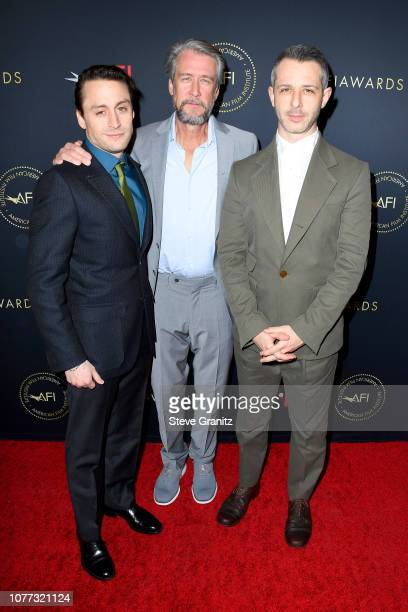 Actors Kieran Culkin Alan Ruck and Jeremy Strong attend the 19th Annual AFI Awards at Four Seasons Hotel Los Angeles at Beverly Hills on January 4...