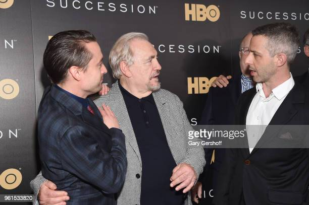 Actors Kieran Culkin Brian Cox and Jeremy Strong attend the 'Succession' New York premiere at Time Warner Center on May 22 2018 in New York City