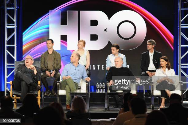 Actors Kieran Culkin Sarah Snook Jeremy Strong Brian Cox creator Jesse Armstrong executive producer Adam Mckay actor Hiam Abbass and Alan Ruck attend...