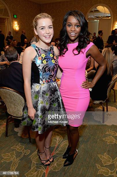 Actors Kiernan Shipka and Aja Naomi King attend the 15th Annual AFI Awards at Four Seasons Hotel Los Angeles at Beverly Hills on January 9 2015 in...