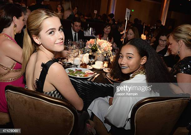 Actors Kiernan Shipka and Amandla Stenberg attend the 16th Costume Designers Guild Awards with presenting sponsor Lacoste at The Beverly Hilton Hotel...