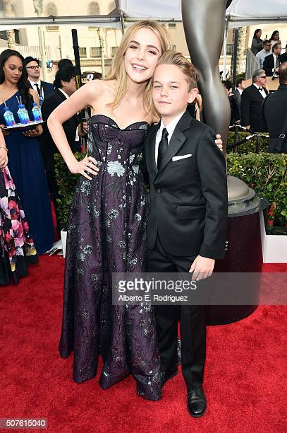 Actors Kiernan Shipka and Mason Vale Cotton attend the 22nd Annual Screen Actors Guild Awards at The Shrine Auditorium on January 30 2016 in Los...