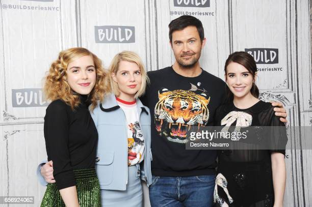 Actors Kiernan Shipka director Osgood Perkins Lucy Boynton and Emma Roberts attend Build Series to discuss 'The Blackcoat's Daughter' at Build Studio...