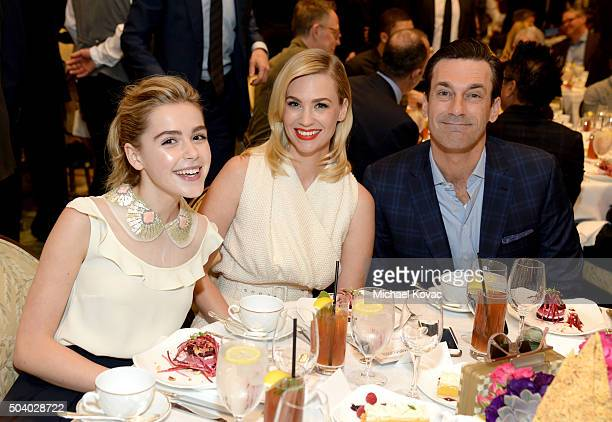 Actors Kiernan Shipka January Jones and Jon Hamm attend the 16th Annual AFI Awards at Four Seasons Hotel Los Angeles at Beverly Hills on January 8...
