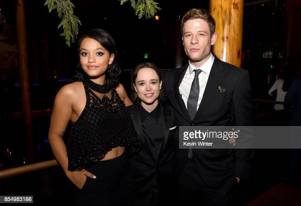 Actors Kiersey Clemons Ellen Page and James Norton pose at the after party for the premiere of Columbia Pictures' Flatliners at Clifton's Cafeteria...