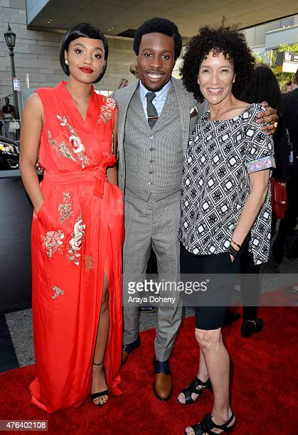 """Actors Kiersey Clemons, Shameik Moore and LA Film Festival Director Stephanie Allain attend the Los Angeles premiere of """"Dope"""" in partnership with..."""