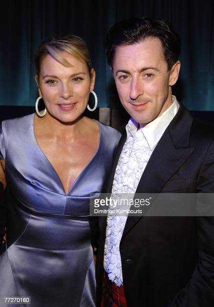 Actors Kim Cattrall and Alan Cumming arrive during the Conde Nast Traveler celebration of 20 years of Truth in Travel at Cooper Hewitt National...