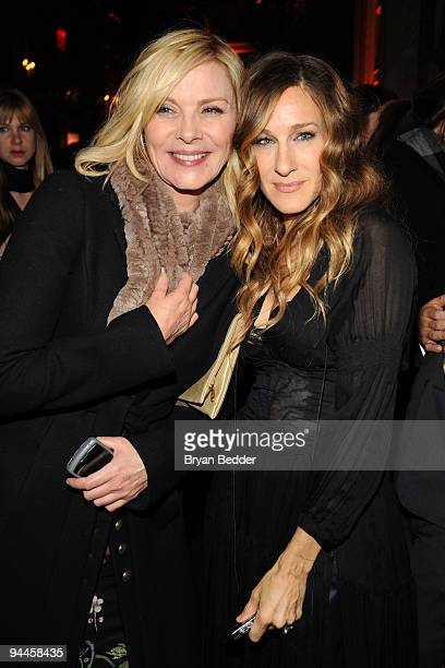 Actors Kim Cattrall and Sarah Jessica Parker attend the premiere of Did You Hear About the Morgans after party at The Oak Room on December 14 2009 in...