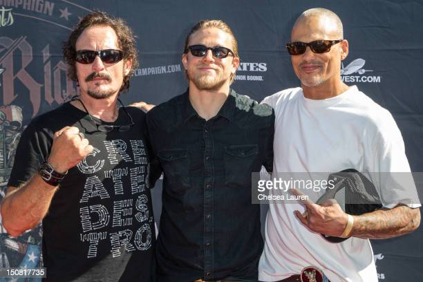 Actors Kim Coates Charlie Hunnam and David Labrava attend the 2nd Annual Boot Ride and Rally at The Happy Ending Bar Restaurant on August 26 2012 in...