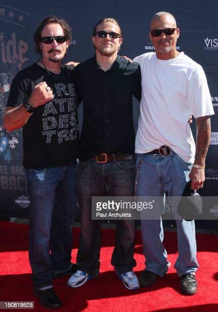 Actors Kim Coates Charlie Hunnam and David LaBrava attend the 2nd annual Boot Ride and Rally at Happy Ending Bar Restaurant on August 26 2012 in...