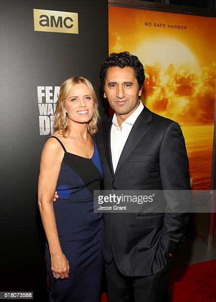 Actors Kim Dickens and Cliff Curtis attend the season 2 premiere of 'Fear the Walking Dead' at Cinemark Playa Vista on March 29 2016 in Los Angeles...