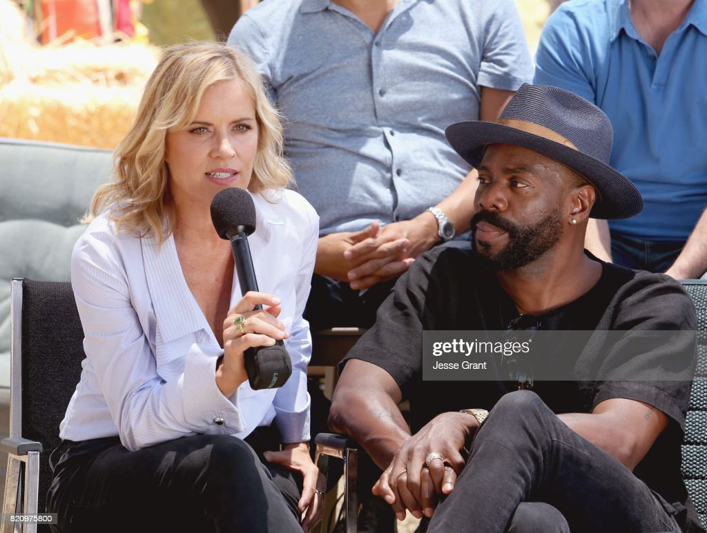 Actors Kim Dickens (L) and Colman Domingo speak at the 'Fear the Walking Dead' Autograph Signing for AMC At Comic Con 2017 - Day 3 on July 22, 2017 in San Diego, California.