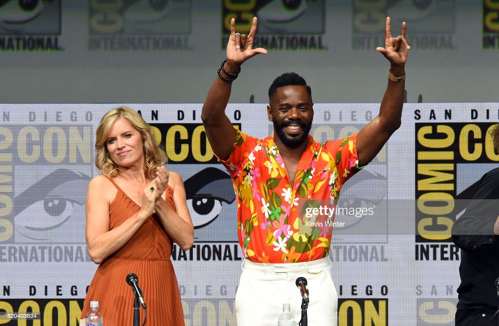Actors Kim Dickens (L) and Colman Domingo walk onstage at the 'Fear The Walking Dead' panel during Comic-Con International 2017 at San Diego Convention Center on July 21, 2017 in San Diego, California.