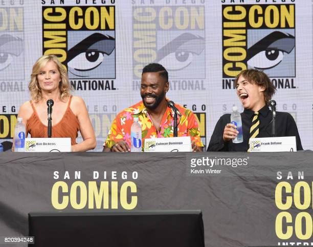 Actors Kim Dickens Colman Domingo and Frank Dillane speak onstage at the 'Fear The Walking Dead' panel during ComicCon International 2017 at San...