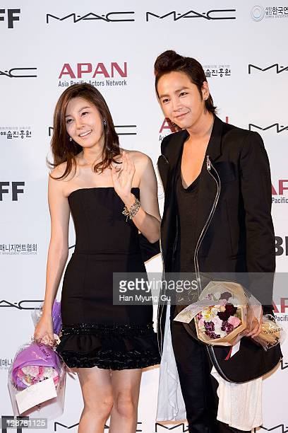 Actors Kim HaNeul and Jang KeunSuk arrive for the Asia Pacific Actors Network Star Road of the 16th Busan International Film Festival at the Haeundae...