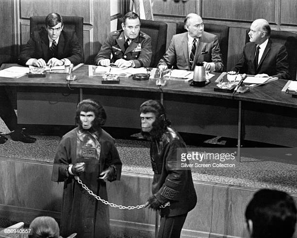 Actors Kim Hunter as Zira and Roddy McDowall as Cornelius in a scene from the film 'Escape from the Planet of the Apes' 1971