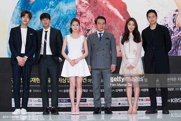 Actors Kim Jae-Young, Lee Sang-Yeob, Gong Seung-Yeon , Cho Jae-Hyun and Jeong Yu-Mi attend the KBS Drama 'The Master Of Revenge - God Of Noodles'...