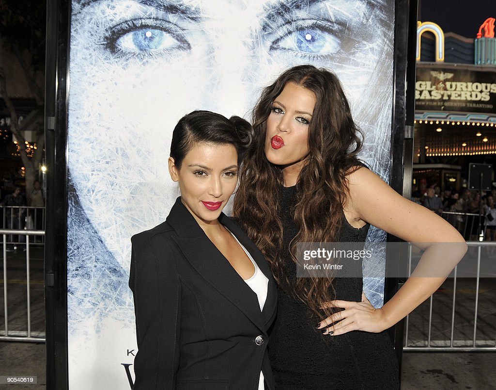 Actors Kim Kardashian (L) and Khloe Kardashian pose at the premiere of Warner Bros. Pictures' 'Whiteout' at the Village Theater on September 9, 2009 in Los Angeles, California.
