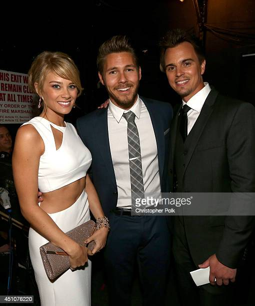 Actors Kim Matula Scott Clifton and Darin Brooks attend The 41st Annual Daytime Emmy Awards at The Beverly Hilton Hotel on June 22 2014 in Beverly...