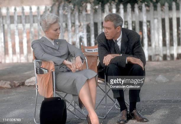 "Actors Kim Novak and James Stewart on the set of the movie ""u201cVertigo""u201d in 1958 in Los Angeles, California."