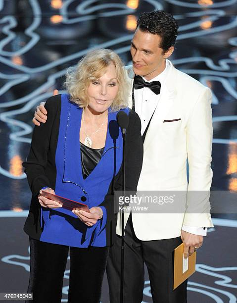 Actors Kim Novak and Matthew McConaughey speak onstage during the Oscars at the Dolby Theatre on March 2, 2014 in Hollywood, California.