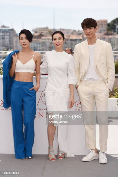 Actors Kim Seo Hyung Kim Okvin and Sung Joon attend the The Villainess photocall during the 70th annual Cannes Film Festival at Palais des Festivals...
