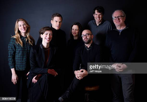 Actors Kim Shaw Rebecca Hall Michael C Hall Maria Dizzia director Antonio Campos actors Timothy Simons and Tracy Letts from the film Christine pose...