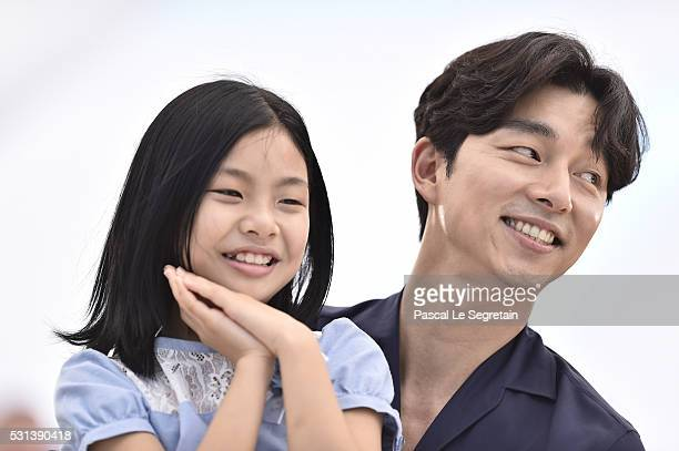 """Actors Kim Su-an and Gong Yoo attend the """"Train To Busan """" photocall during the 69th Annual Cannes Film Festival on May 14, 2016 in Cannes, France."""