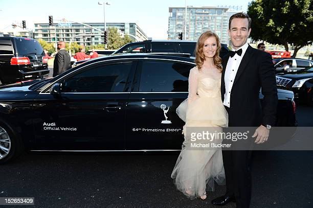Actors Kimberly Brooks and James Van Der Beek arrive at Audi at The 64th Primetime Emmy Awards at Nokia Theatre LA Live on September 23 2012 in Los...