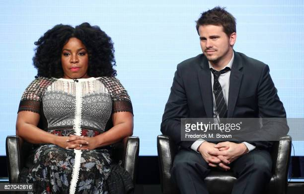 Actors Kimberly Hebert Gregory and Jason Ritter of 'Kevin Saves the World' speak onstage during the Disney/ABC Television Group portion of the 2017...