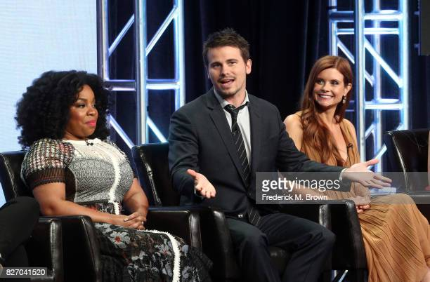 Actors Kimberly Hebert Gregory Jason Ritter and JoAnna Garcia Swisher of Kevin Saves the World speak onstage during the Disney/ABC Television Group...