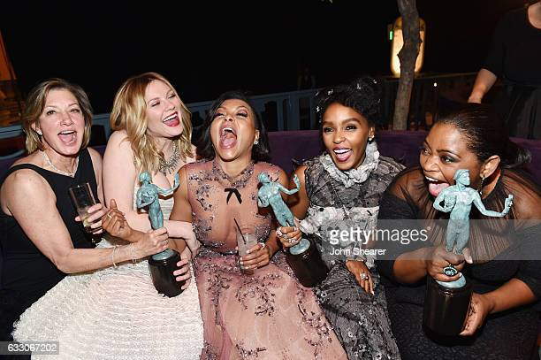 Actors Kimberly Quinn Kirsten Dunst Taraji P Henson Janelle Monae and Octavia Spencer pose with awards at People And EIF's Annual Screen Actors Guild...