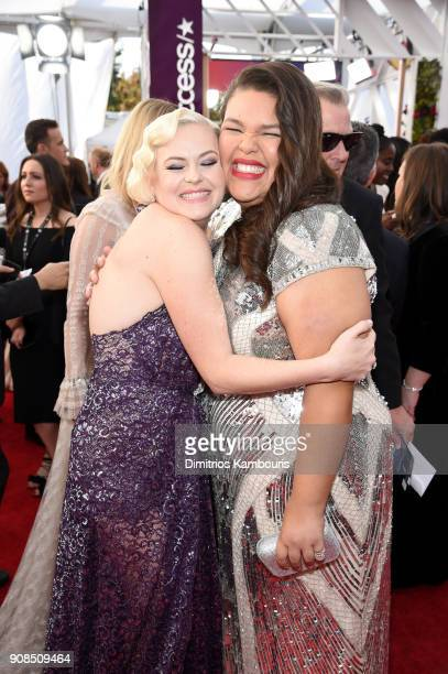Actors Kimmie Gatewood and Britney Young attend the 24th Annual Screen Actors Guild Awards at The Shrine Auditorium on January 21 2018 in Los Angeles...
