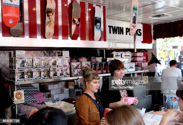 Actors Kimmy Robertson and Nicole LaLiberte speak with fans and patrons at Showtime's 'Twin Peaks' Double R Diner PopUp on Melrose Avenue on October...